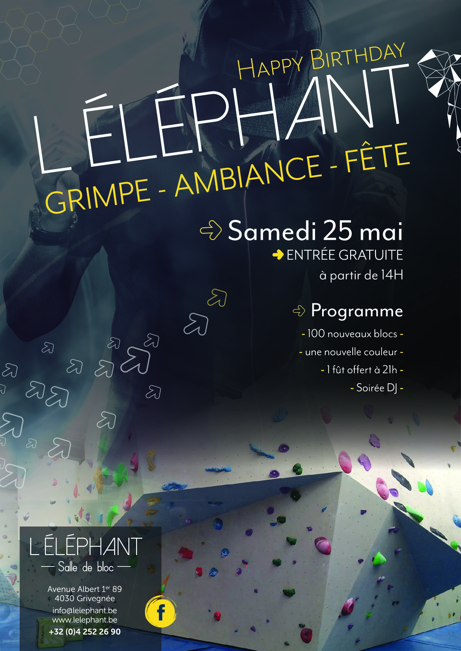 Venez fêter avec nous l'anniversaire de la salle d'escalade l'éléphant !